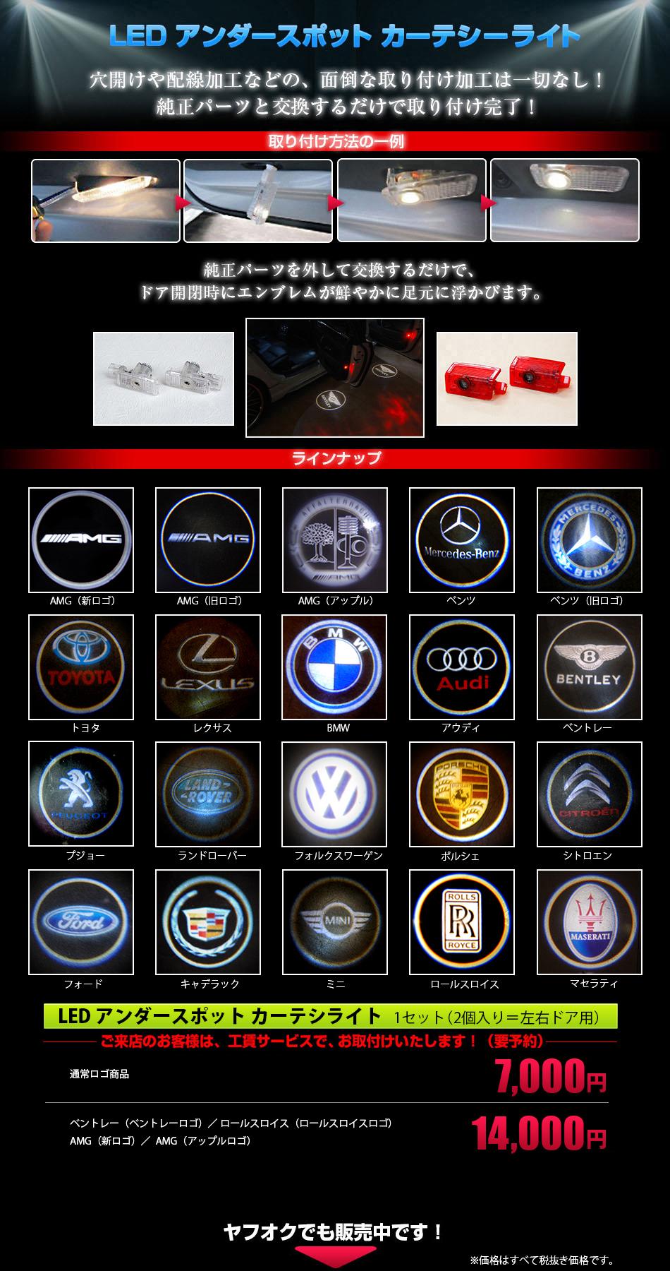 アンダースポットカーテシーライト、ベンツ、ベントレー、レクサス、BMW、アウディ